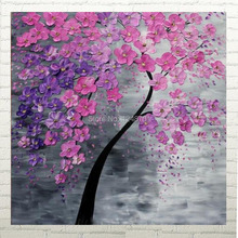 Home Decor palette knife Pink Purple Blossom Tree impasto oil painting on canvas by handmade 60x60cm