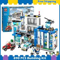890pcs City Police Station New Construction Helicopter 10424 Model Building Blocks Children Gifts Sets Kit Compatible