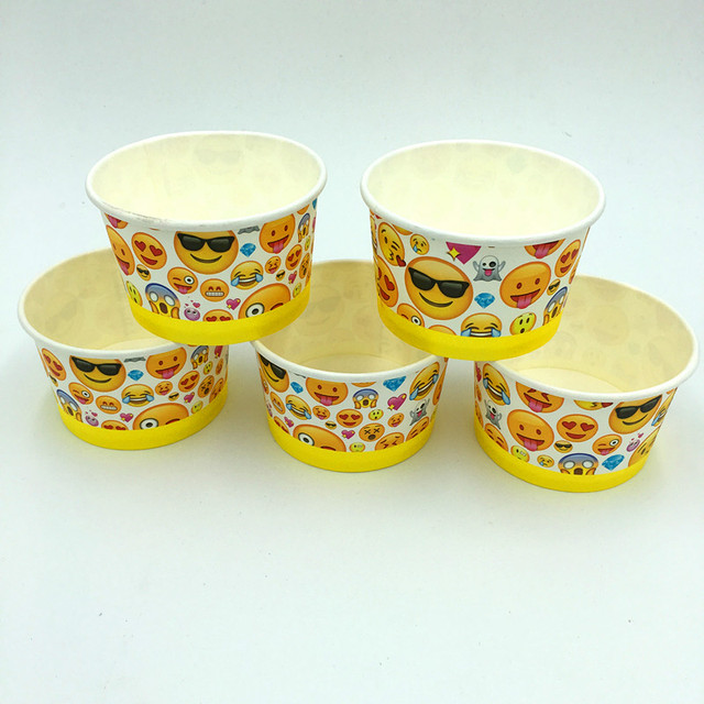 10pcslot Emoji Ice Cream Cup Emoji Ice Cream Bowl Emoji Disposable