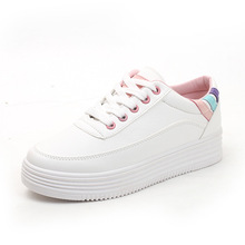 2019 new autumn tenis feminino lace-up white shoes woman PU Leather solid color female shoes casual women shoes sneakers недорого
