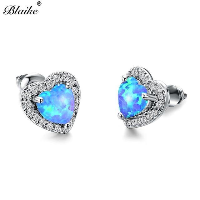 Blaike 925 Sterling Silver Filled Blue Fire Heart Opal Stud Earrings For  Women Fashion Jewelry Charming 0a17da349303
