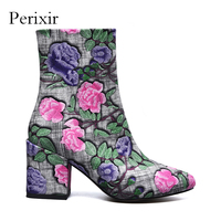 Perixir Ankle Boots For Shoes Women Embroider Fabric Fashion Pointed Toe 8cm High Heels Flower Laides