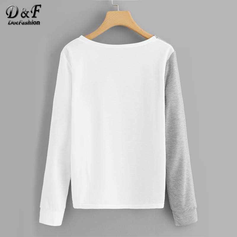 32da8b11577f Dotfashion Colorblock Animal Dog Print Cut And Sew Tee Autumn Casual Long  Sleeve Tops Spring Female Pullovers Multicolor T-Shirt