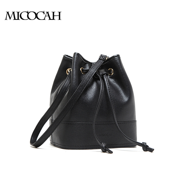 MICOCAH :Black String Women Bucket Bag 2016 Brand New Solid Color Fashion Bags With 2 Strings Environmental PU Leather Bag