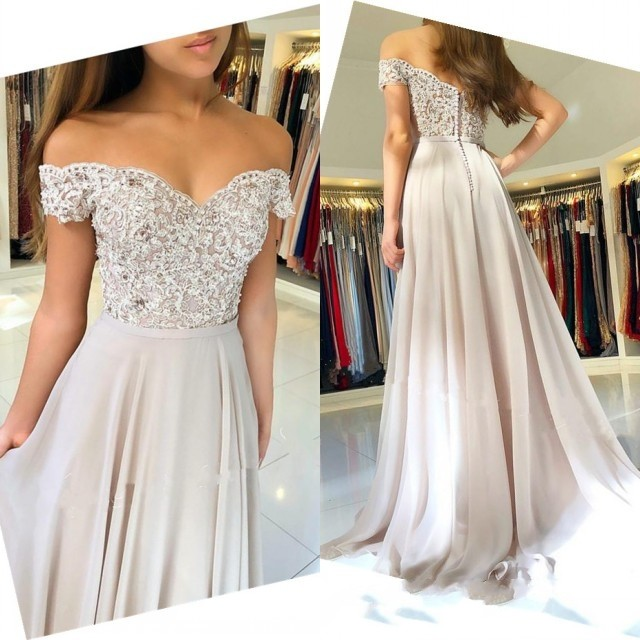 New Elegant Chiffon Prom Dress 2019 Off Shoulder Appliques Lace Bodice Cheap Evening Gown vestidos de fiesta