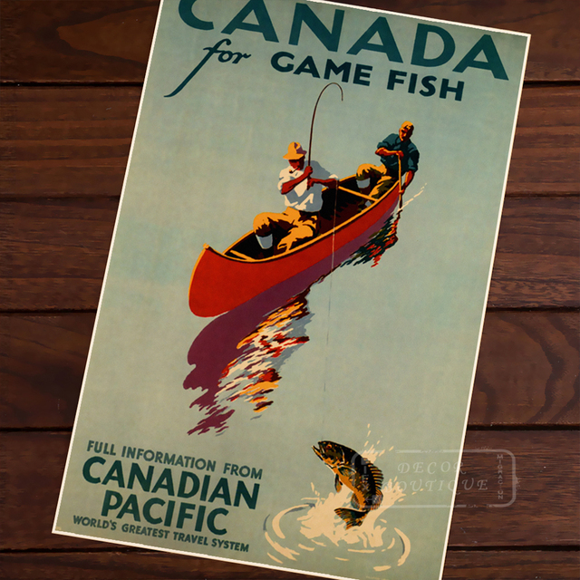 Canada For Fish Poster With Text Vintage Decor Online Pictures Diy Wall Sticker Home