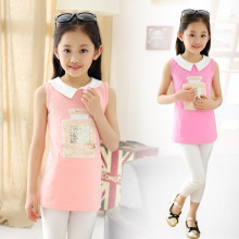 Children's New Summer Girls T-shirt Long Shirts Kids Clothing Pink Purple Rose Red
