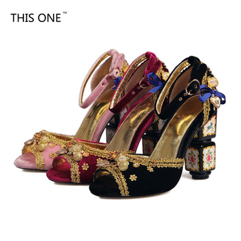 THIS ONE 2018 Ankle Strap Heels Womens Sandals Summer Shoes Women Open Toe High Heels Sandals Party Dress shoes