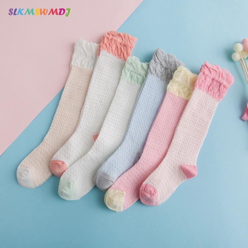 SLKMSWMDJ verão nova meias bebê malha fina costura respirável crianças mosquito meias de algodão meninas meias 6 cores