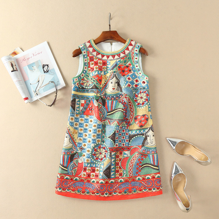European and American womens wear in 2018 The new spring sleeveless Jacquard printing of CARDS dress