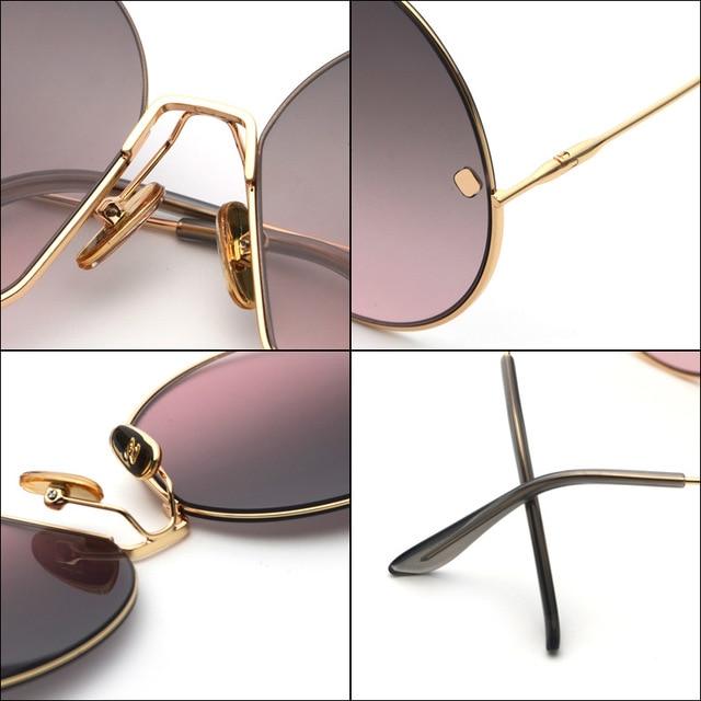 JackJad Fashion Oversized Round Metal Frame Rivets Sunglasses Women Semi-Rimless Brand Design Sun Glasses Oculos De Sol S31028 4
