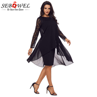 Sebowel 2018 Long Sleeve Black Lace Dress Women Double Layer Chiffon Midi Dresses Formal Work Office