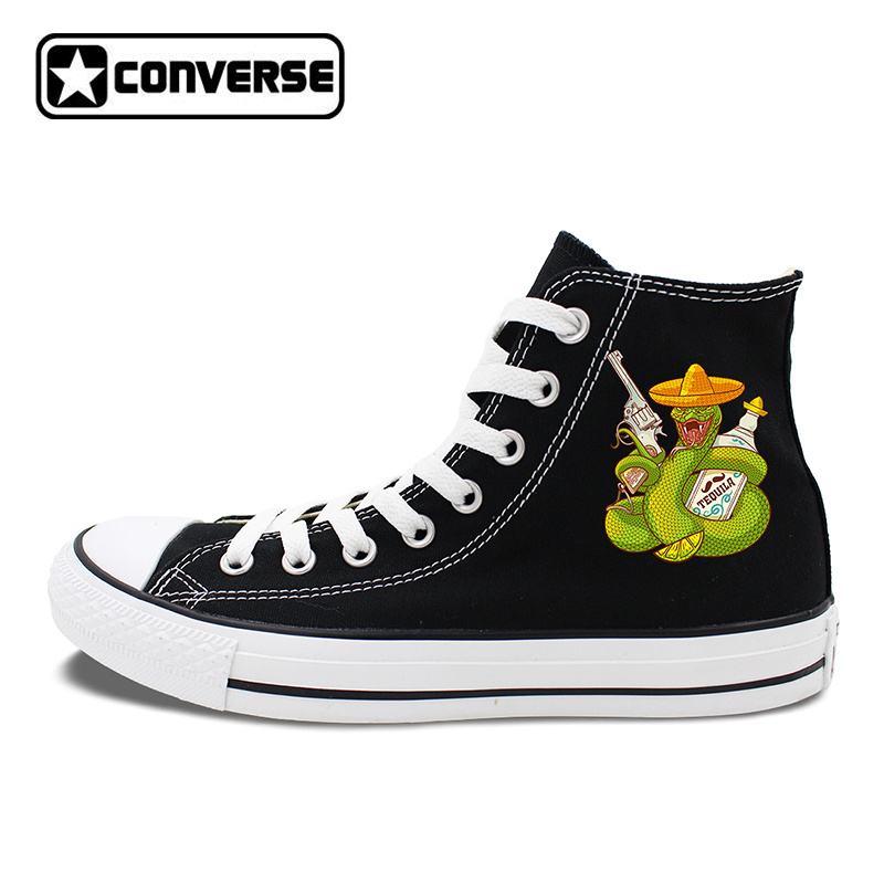 Black Shoes High Top Converse Chucks Taylor Original Design Mexican Snake Revolver Tequi ...