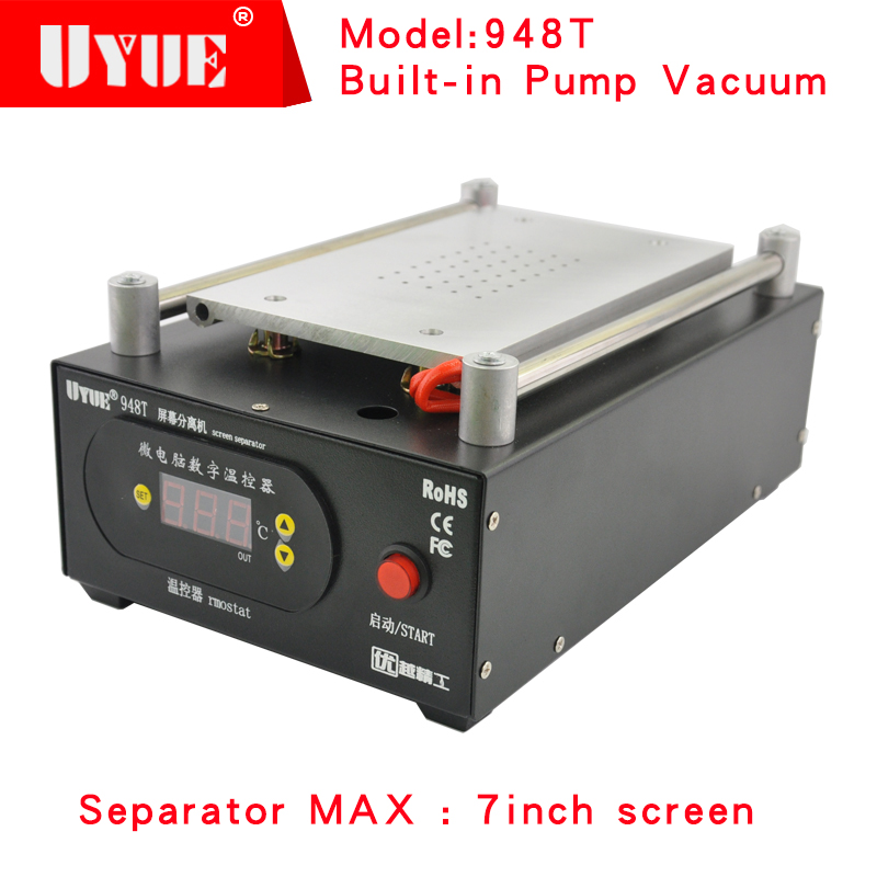 UYUE 948T Mobile phone repair machine Built-in Pump Vacuum Separator Machine for LCD Screen Max 7 inch,for phone display screen built in air vacuum pump ko semi automatic lcd separator machine for separating assembly split lcd ts ouch screen glas