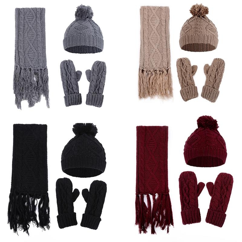 Three-Piece Set Women s Diamond Twist Knitted Woolen Hat + Scarf + Gloves  Winter Warm 3a2fb2a4d41