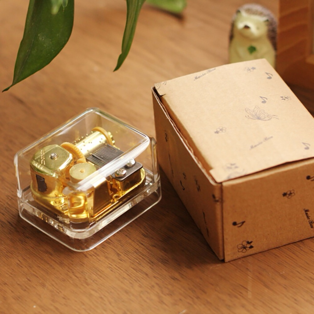Newest Music Box Exquisite Circle Gold Transparent Wind Up Music Box Gift Castle In The Sky Happy Birthday Caixa De Musica OB