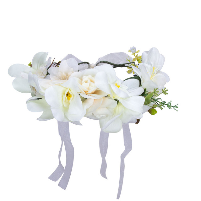 Handmade Orchid Flower Crown Garland for Wedding Travel Holiday Girls Flower Wreath Headpiece Decorations coroa de flores