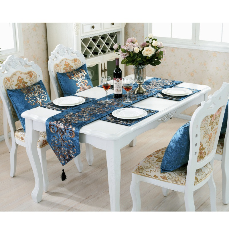 Blue European-style Table Runner Camino De Mesa Runner Weding Decoration Table Runners Home Decoration Accessories