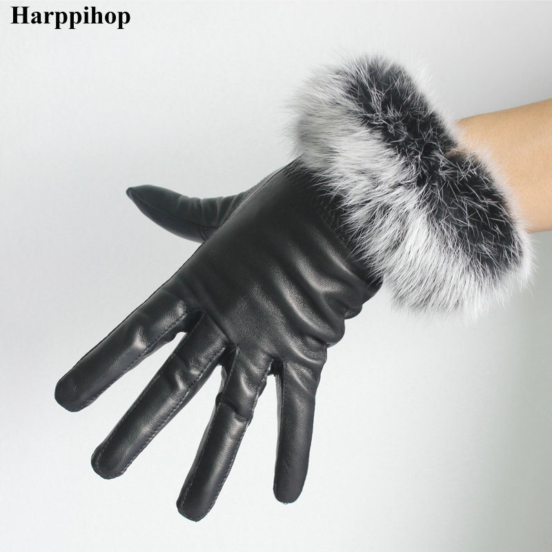 Hot-selling Black Women's Small Rabbit Fur Thickening Thermal Genuine Leather Gloves Women's Winter