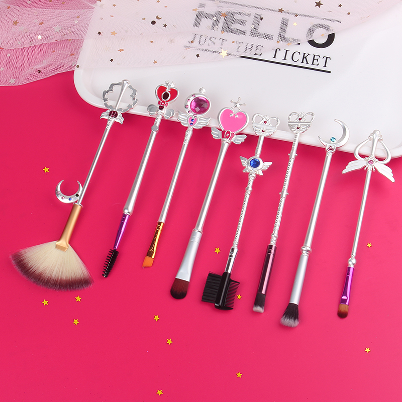 Free Shipping New Style 8pcs/Set Anime Sailor Moon Beauty Makeup/Cosmetic Brush Star Sailor Makeup Brush Cosplay Woman Gift