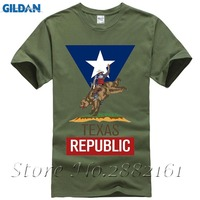 Man's Casual Texas Republic Cowboy T-shirt White Short Sleeve Custom T-shirts Men
