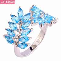 JROSE Wholesale Splendide Marquise Cut Blue CZ Silver Color Ring Size 7 8 9 10 Leaves Fashion Women Men Jewelry