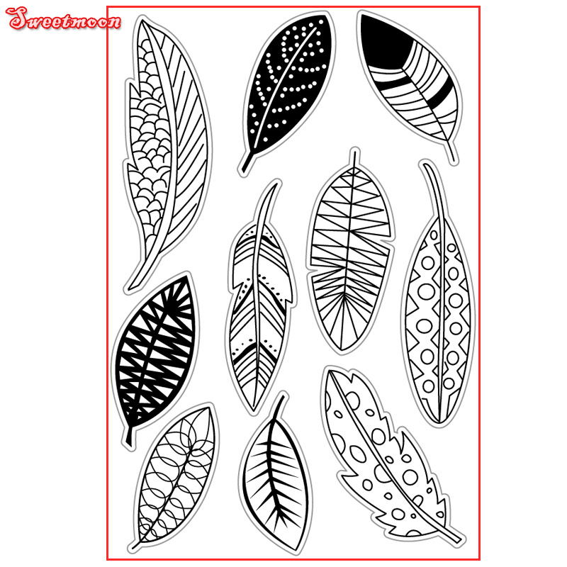 VARIOUS LEAVES FEATHERS SET Scrapbook DIY photo cards account rubber stamp clear stamp transparent stamp card