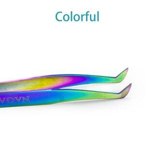 Image 3 - Nagaraku 속눈썹 연장 족집게 메이크업 10 pcs 러시아어 속눈썹 정확한 pincet 스테인레스 스틸 다채로운 3d 속눈썹 족집게