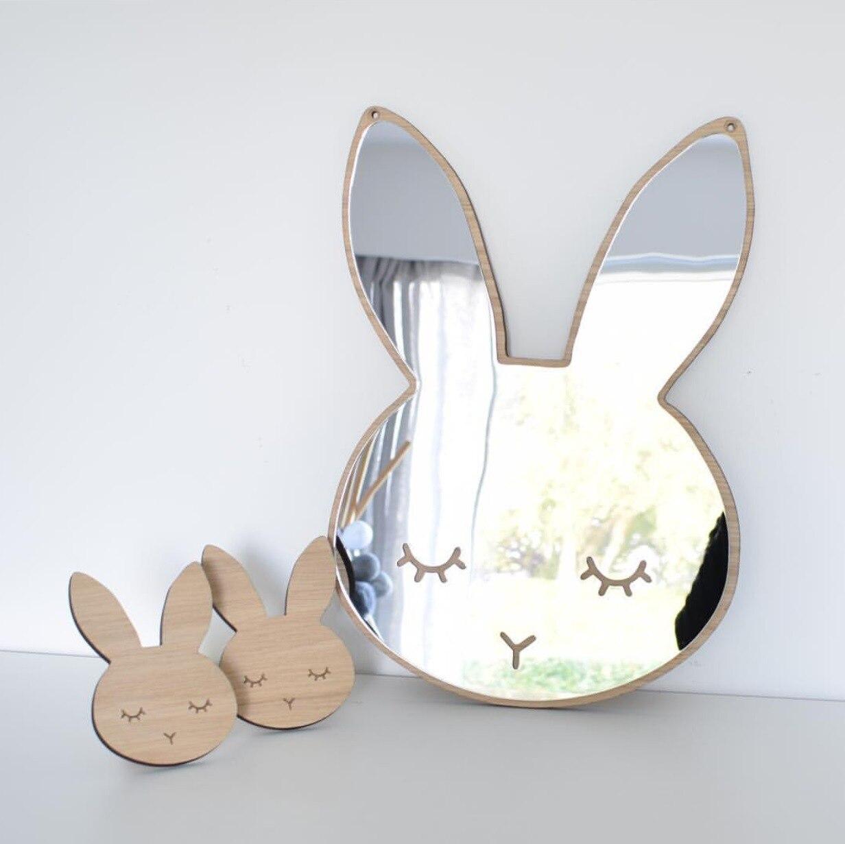 Аксессуары для колясок мультфильм кролик деревянные акриловые декоративные зеркала Детская комната настенные декоративные зеркала Подст... ...