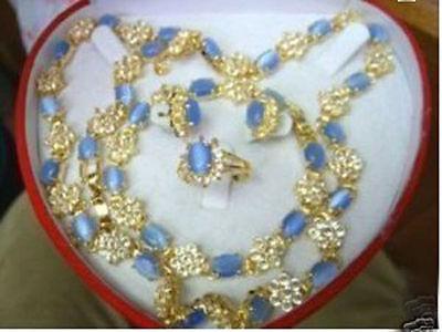 Belle collier bracelet bague boucles d'oreilles > AAA 18 K GP plaqué or de mariée large montre ailes reine JEWE