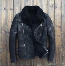 2015 Fashion  Sheepskin Fur Flight go well with Shearing Men's leather-based jackets Slim Fur B Men's bike jacket Coat 8135