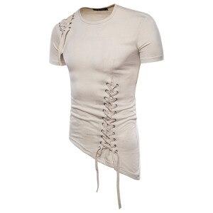 Image 2 - 남성 불규칙한 디자인 힙합 펑크 t 셔츠 탑스 레이싱 슬림 피트 티 셔츠 남성 고딕 티 셔츠 나이트 클럽 무대 의상