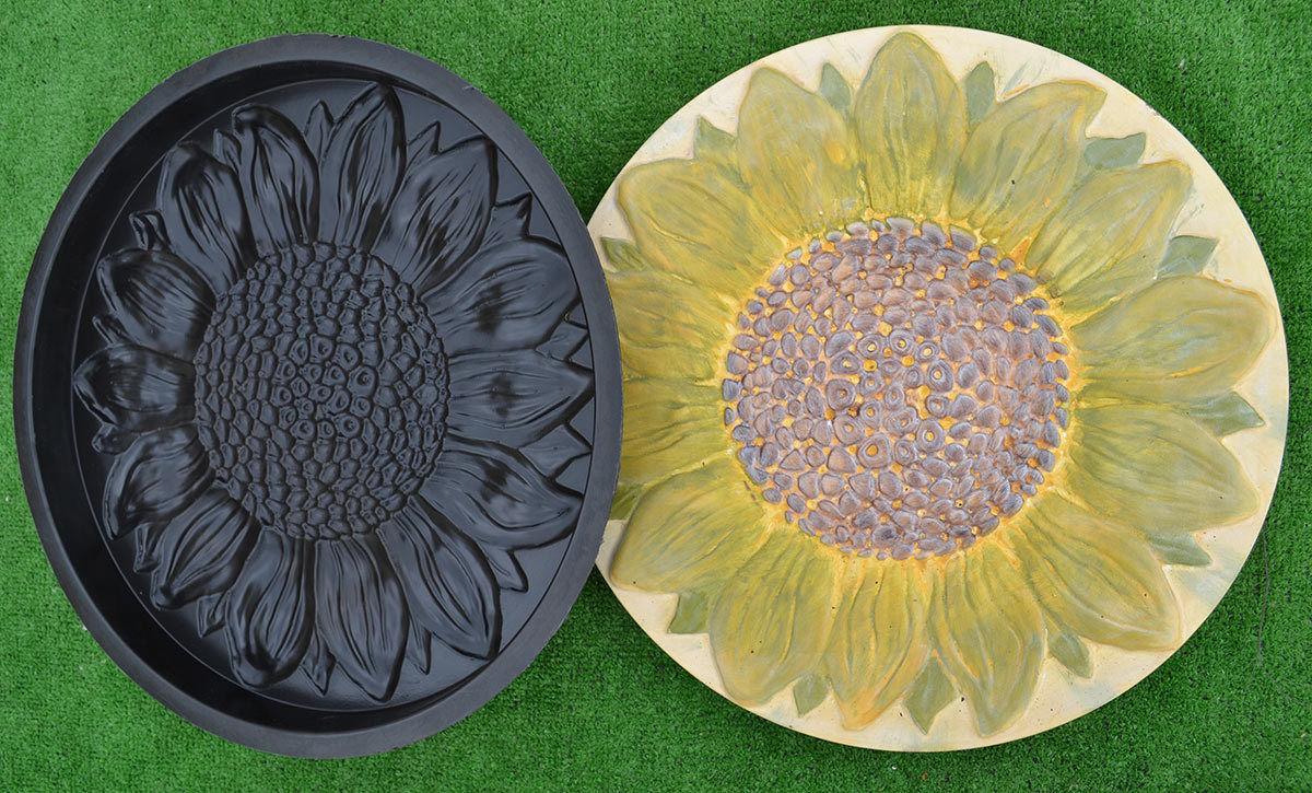 ... Sunflower Flower Plastic Garden Stepping Stone Casting Mold Path Maker  DIY Yard Concrete Molds For Home ...
