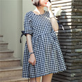 Summer Cotton Plaid Patterm Maternity Dresses Loose Nursing Clothes for Pregnant Women Breastfeeding Dress for Feeding Clothing