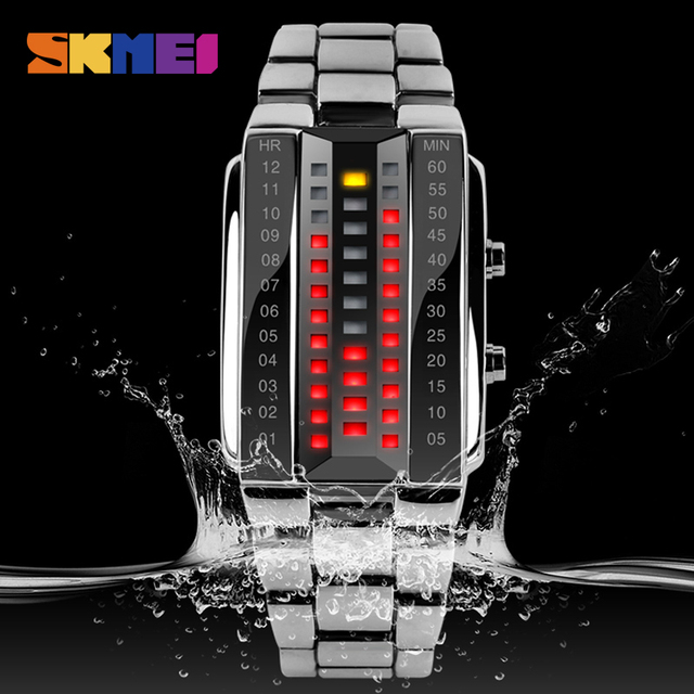 Fashion Small Womens Watch Waterproof Clock Woman Stainless Steel LED Electronic