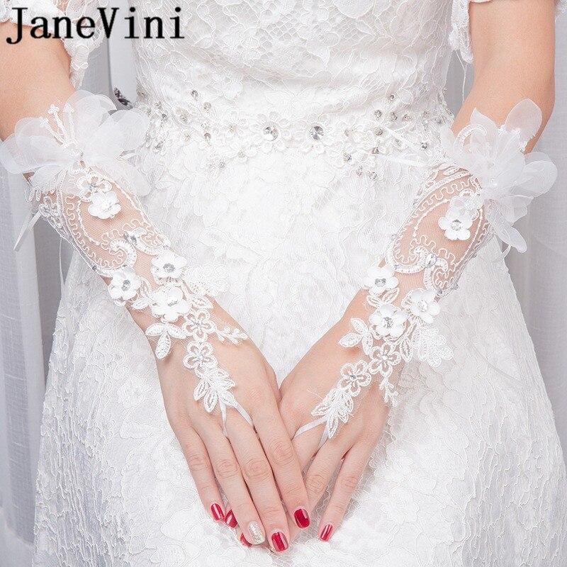 JaneVini 2018 White Bridal Lace Aplique Wedding Glove Beaded Flowers Fingerless Bride Gloves for Wedding Hochzeit Handschuh