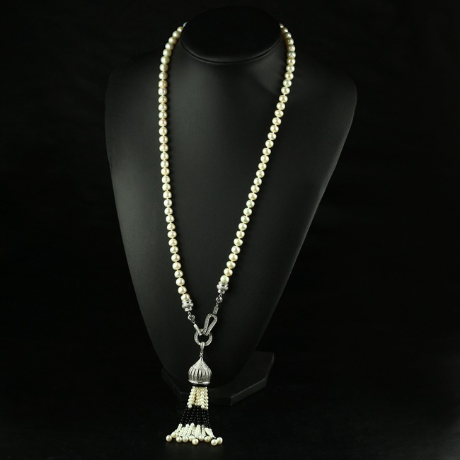 T.N 1983 Luxury Design Birdcage Removable Tassel Pendant Necklace with Rope Chain White Freshwater Pearl Statement Necklace