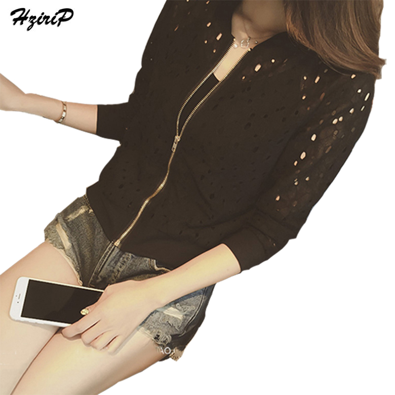Hzirip Lace Hollow Out Jackets 2018 Spring Summer New Casual Slime Women Thin Jacket White Black Lady Shorts Outwear Plus Size 1
