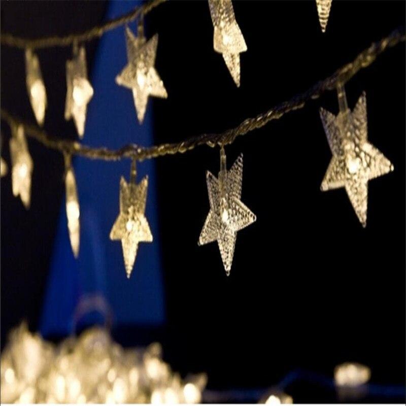 10M 50Led Lights Juletre Snø Stjernepærer Led String Fairy Lys Xmas - Ferie belysning - Bilde 5