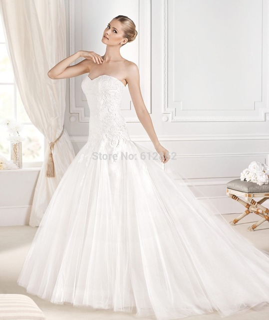 Strapless Sweetheart Ball Gown Lace Long Tail Dropped Waist Wedding ...