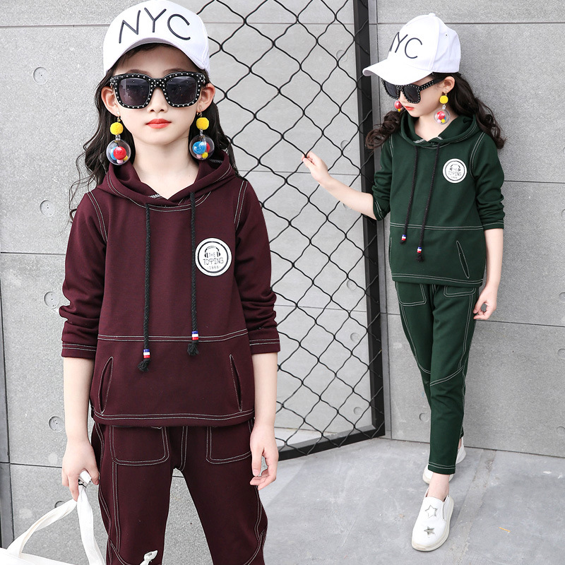 Girls clothing set autumn teenage girls clothes sport suit school kids tracksuit for girls hooded pulloover Children clothes gold velvet kids boys clothing set thicken sport suit for children teenage girls clothes sets boy korean brand cool tracksuit