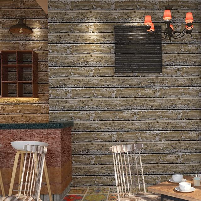 Us 22 9 21 Off Retro Nostalgia Imitation Wood Board Horizontal Stripes Wallpaper Roll For Walls Living Room Decor 3d Wall Paper Papel De Parede In
