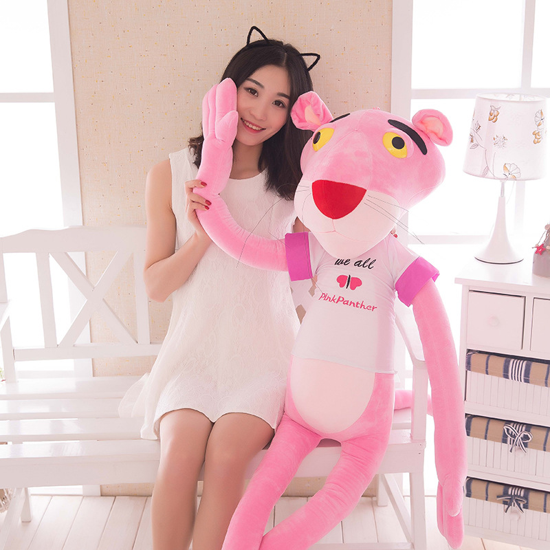 Big Pink Panther Plush Toys Nordic Leopard Cute Animals Jaguar Children <font><b>Dolls</b></font> Christmas Presents Birthday Fashion Wedding Gift image