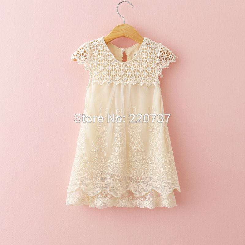 Baby White girls lace dress summer 2016 wholesale children