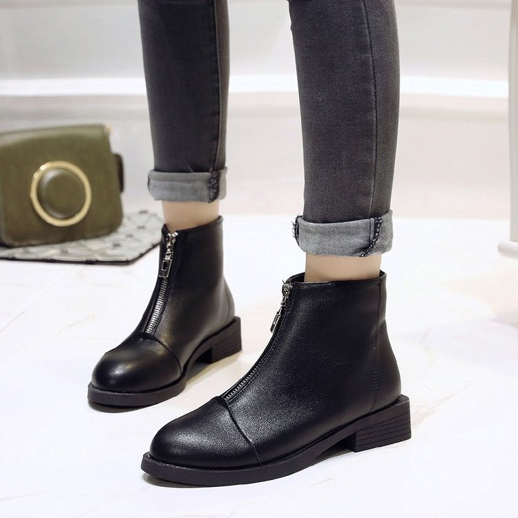 2019 New Women Zip Autumn Ankle Boots Ladies Classic Comfort Thick Middle Heels Female Fashion Flock Black Martin Shoeshjm9