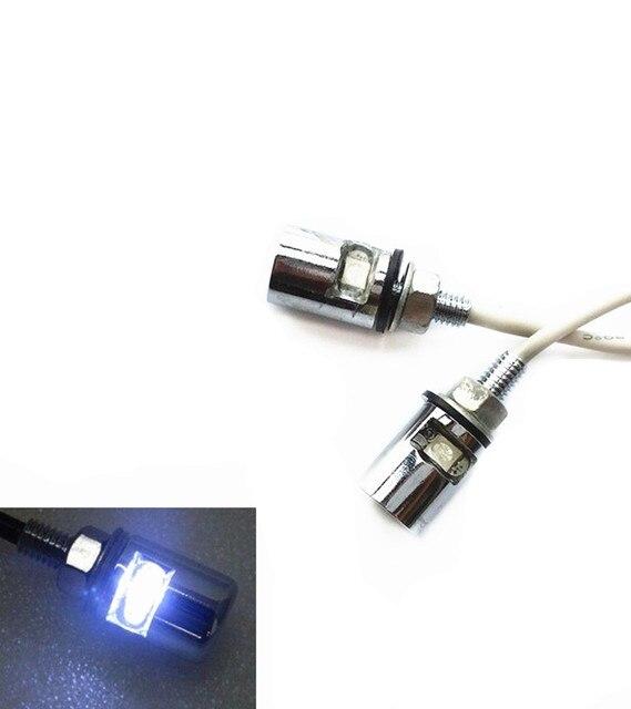 2 x White LED Universal Motorcycle Car License Plate Screw Bolt Light Lamp Bulb ATV Cafe Racer Old School
