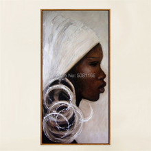 Handmade african portrait Painting Hand Painted white black africa woman face Oil On Canvas Wall Art Gift home decor