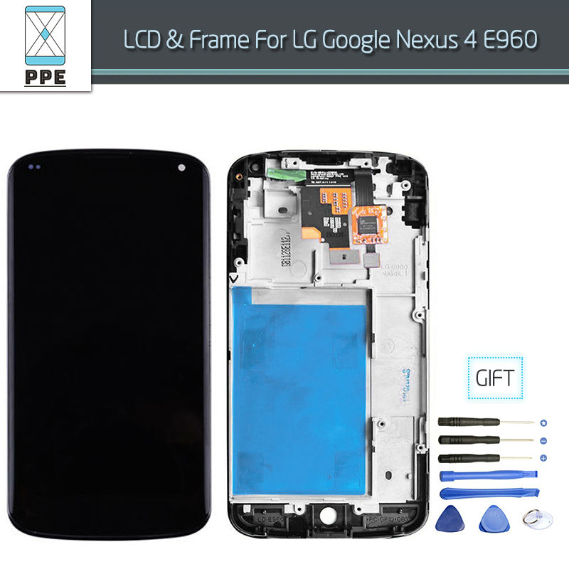 AAA+++ New Tested LCD for LG Google Nexus E960 LCD Display Touch screen Digitizer with Frame Assembly Black Replacement+Tools new lcd touch screen digitizer with frame assembly for lg google nexus 5 d820 d821 free shipping