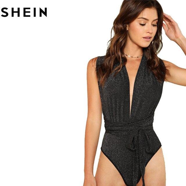 SHEIN Women Sexy Deep V Neck Sleeveless Polka Dot Skinny Bodysuits 2018 Summer High Waist Stretchy Cut Out Front Halter Bodysuit 5