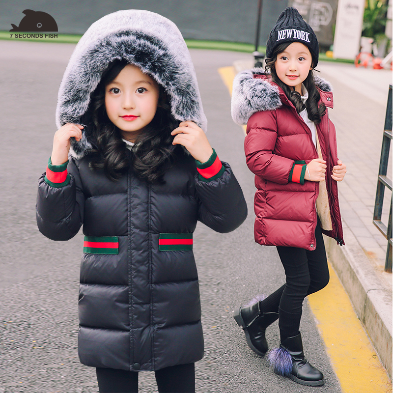 girl winter coat 2018 Flannel lining larger hooded warm padded cotton kids jacket Suitable for extremely cold weather